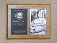 Hall of Fame Plaque: Annette Duvall, Women's Soccer (Forward), Class of 1994