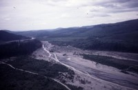 Aerial views of debris-chocked stream, location unknown.