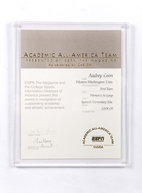 All-American Certificate: Academic All-American Team, Audrey Coon, Women's At-Large, 2008/2009