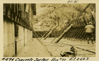 Lower Baker River dam construction 1925-05-01 Concrete Surface Run #90 El.260.3