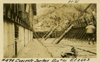 Lower Baker River dam construction 1925-05-01 Concrete Surface Run #90 El.260.3