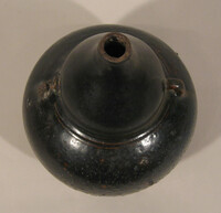 Sawankhalok ware jar, double gourd body with two loop handles at waist, lip ground