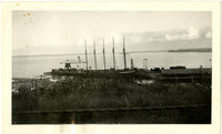 Five-masted lumber ship anchored at Bloedel-Donovan Lumber Mill on Bellingham Bay