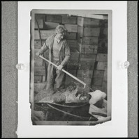 An unidentified man standing in front of stacks of wooden crates, holding a harpoon-like instrument with an unidentified white mass speared on its end.