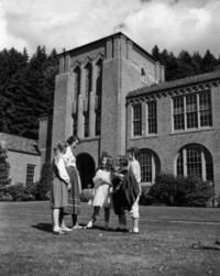 1960 Student teacher and students in front of Campus School
