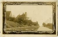 Victorian-era postcard image of tree-lined 14th street, Bellingham, WA