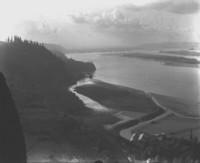 Aerial view across fields towards Columbia River near Corbett, Oregon
