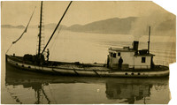 """Fishing boat (barge?) """"Gravina Point"""" in Bellingham Bay with Lummi Island in the background."""