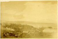View from hilltop of rooftops of early town of Fairhaven, Washington