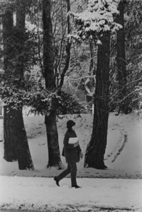 1971 Student Walking in Snow