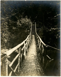 First wooden bridge over creek at Whatcom Falls Park, Bellingham, Washington