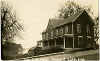 Lake Side Hotel, Pleasant Lake (Ind.) - Small wood-framed hotel with front porch next to lake