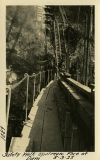 Lower Baker River dam construction 1925-08-03  Safety Walk Upstream Face of Dam