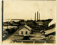 Earles Cleary Lumber Mill surrounded by stacks of lumber