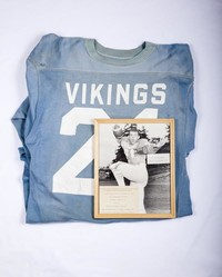Football Jersey and Photograph: Steve Richardson with record of official action to retire jersey  #21, 1967