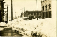 Large snowfall on the street at corner of 11th and Harris Streets, Fairhaven, WA