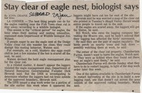 Stay clear of eagle nest, biologist says