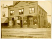 Exterior of windowed storefronts on Elk (State) Street, Bellingham, WA