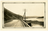 Highway adjacent to Columbia River running along basalt cliffs