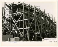 The wooden skeleton of a ship under construction at Northwestern Shipyard, Bellingham, Washington