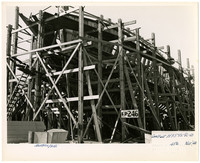 The wooden skeleton of a ship under construction at Northwestern Shipyard, Bellingham, Washington