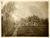 A walkway leads to picket fence in front of a small farmhouse obscured by trees