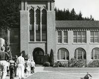 1960 Campus School Building Main Entrance with Students