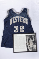 Basketball (Women's) Jersey and Photograph: #32, photograph of Celeste Hill, list of accomplishments, 1996/2000