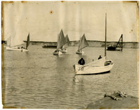 Seven single-masted fishing skiffs on water