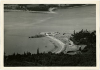 Aerial view of Ferry Terminal at Gooseberry Point with Lummi Island in distance