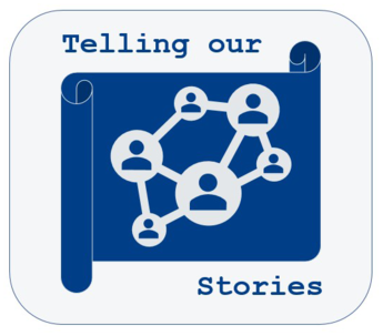 A blue scroll with dots connecting to each other and the words Telling our Stories above and below the scroll
